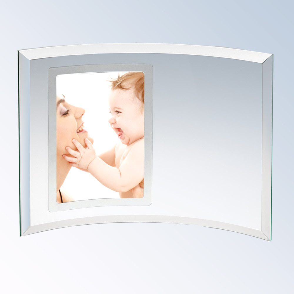 Curved Glass Vertical Silver Photo Frame Engraveable Frame Bgd