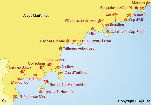 Carte des plages des Alpes Maritimes