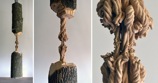 A Large Suspended Tree Trunk Carved Down to a Frayed Rope by Maskull Lasserre