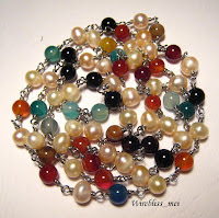 Wire wrapped Multi colored agate & pearl necklace