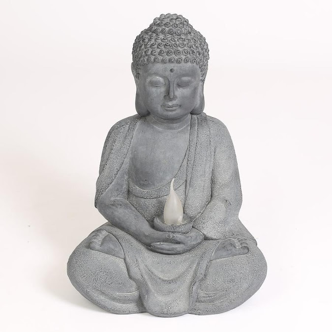 Luxen Home 20 1 In H X 10 6 In W Gray Buddha Garden Statue In The Garden Statues Department At Lowes Com