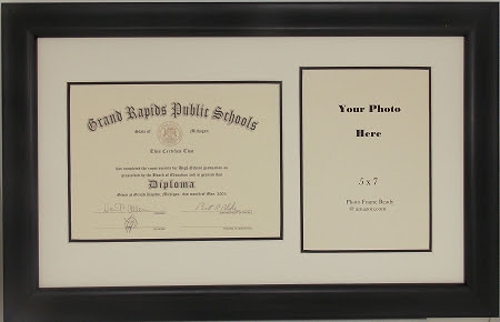 Graduation High School Diploma Certificate 6x8 With 5x7 Photo Frame