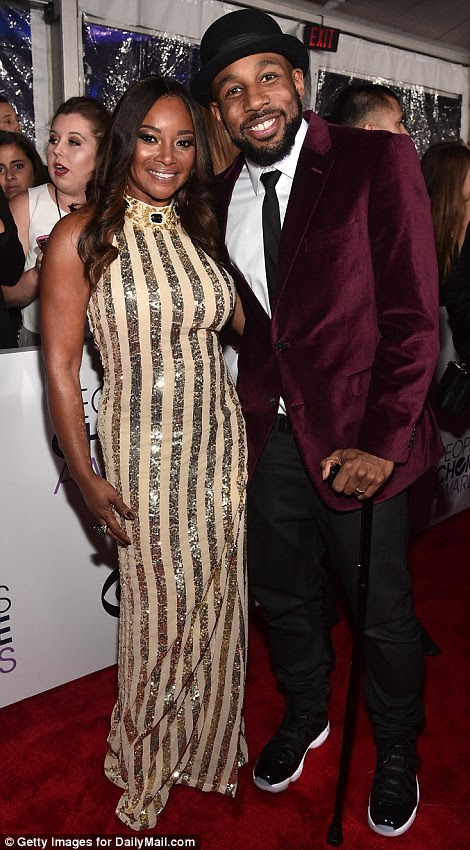 """Dynamic duos: Mike Epps posed with Uncle Buck co-star Nia Long (L), while Stephen """"tWitch"""" Boss grabbed Tamala Jones for a photo"""