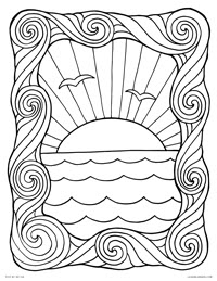 Mountain Nature Coloring Pages For Kids Drawing With Crayons