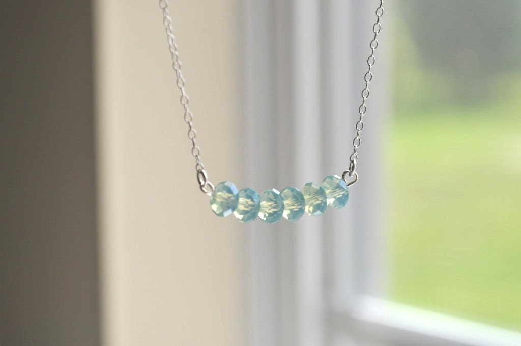 Petite Hope Necklace - Aqua Blue Swarovski Crystal & Sterling Silver - simple dainty - adencreations
