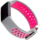 WITHit - Silicone Watch Band for Fitbit Charge 3 - Gray/Pink