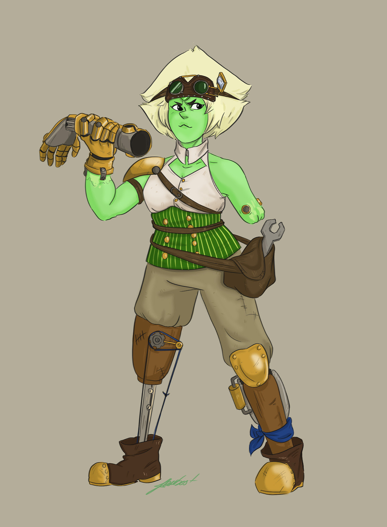 A thing I did a while ago for a steampunk Challenge on Amino. I replaced the idea of her limbs enhancers by some kind of automail…