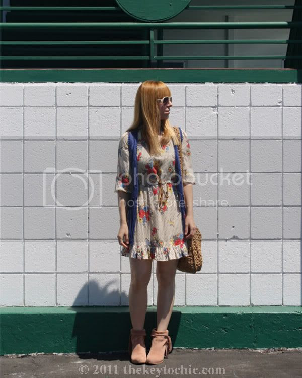 crochet fringe vest, floral dress, Sam Edelman Louie boots, Los Angeles California fashion blog