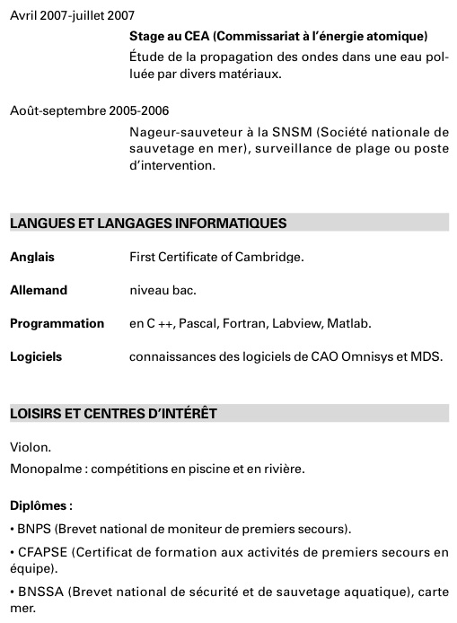 Exemple De Cv Pour Un Stage En Entreprise
