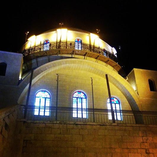 The Hurvah Synagogue in Jerusalem's Old City is so beautiful at night.