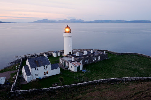 Davaar Lighthouse at night and the mountains of Arran, Kintyre by iancowe