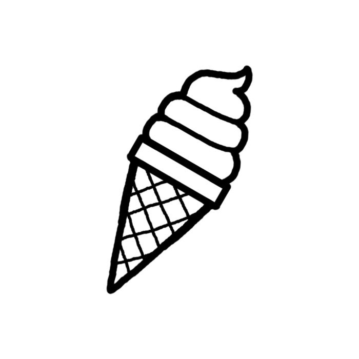 ソフトクリーム白黒お菓子スイーツ5食べ物無料イラスト素材