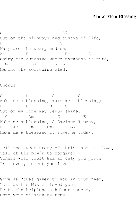 Make Me A Blessing Lyrics And Piano Chords