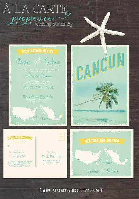 Cancun Mexico Beach Destination Wedding Invitation And