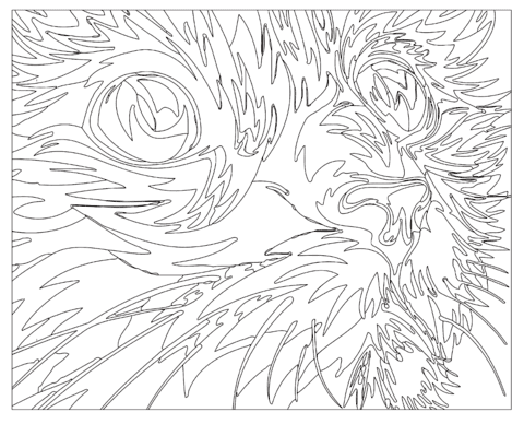 abstract cat coloring page  free printable coloring pages