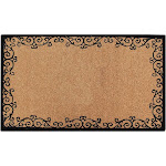 First Impression Coir 24-Inch x 39-inch Handcrafted Floral Border Doormat