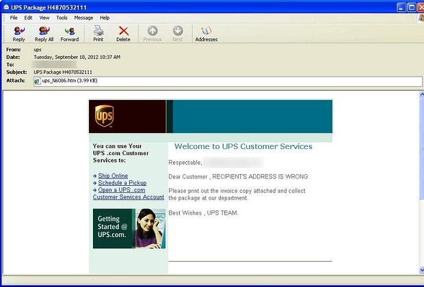 La schermata del falso messaggio Ups di consegna dell'iPhone