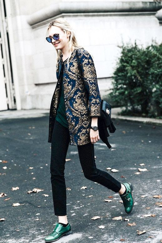 Le Fashion Blog Street Style Model Sunglasses Brocade Jacket Dark Tee Sweater Gunmetal Watch Snakeskin Bag Skinny Jeans Green Monk Strap Shoes Via Collage Vintage