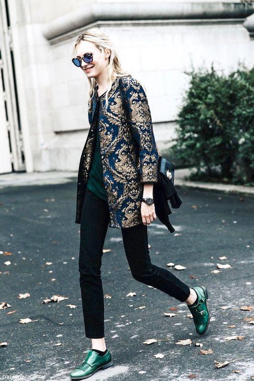Le Fashion Blog Street Style Model Sunglasses Brocade Jacket Dark Tee Sweater Gunmetal Watch Snakeskin Bag Skinny Jeans Green Monk Strap Shoes Via Collage Vintage