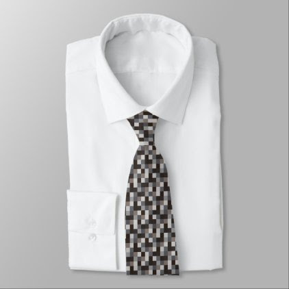 Black and Gray Pixelated Pattern | Gamer Neck Tie
