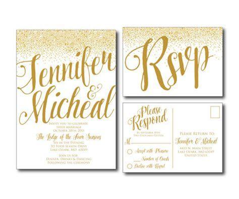 Gold Wedding Invitation   Gold Sparkles   Printable