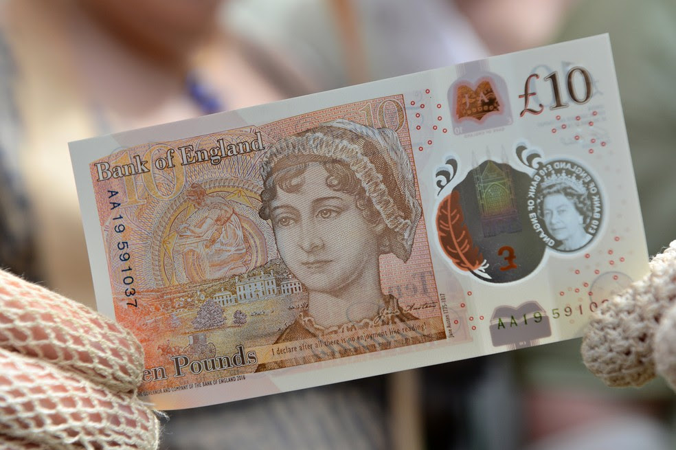 Nota de 10 libras estampada com o rosto de Jane Austen (Foto: REUTERS/Chris J Ratcliffe/Pool)