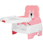 Costway Portable Folding Booster Seat Toddler Chair Adjustable Height Safety Belt Tray Pink