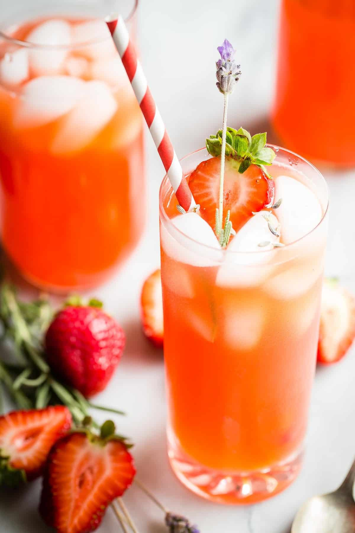 This homemade fresh Strawberry Lavender Lemonade is mega-refreshing and still perfect for the last weeks of summer! Make a giant pitcher of it and keep it in the fridge ready to pour.