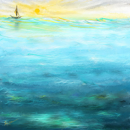 Sail Away- Sailing At Sunset Painting by Lourry Legarde