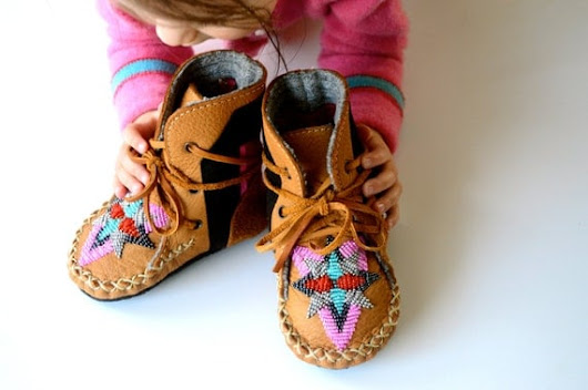 Baby and Toddler handmade leather beaded wool-lined moccasin winter boots with wool insole and crepe rubber sole