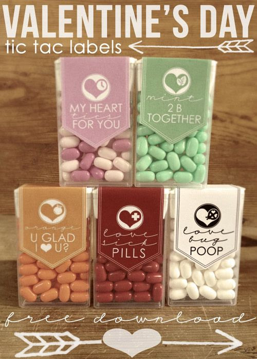 Cute Valentine's Day Tic Tac Labels // FREE download--Not sure I would want the love bug poop one but you know . . . some people might think that's awesome.
