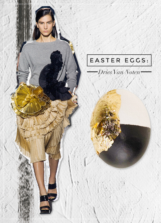 Le Fashion Blog DIY Inspiration Fashion Inspired Easter Eggs Via Style Caster Dries Van Noten Black Gold Grey Pleated Ruffles Chic Style Holiday Decor Ideas Serena Abraham Tinsel & Twine  4 photo Le-Fashion-Blog-DIY-Inspiration-Fashion-Inspired-Easter-Eggs-Via-Style-Caster-Dries-Van-Noten-4.png