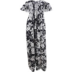 Raviya Women's Plus Size Floral Maxi Dress Swim Cover-Up (1X, Black/White)