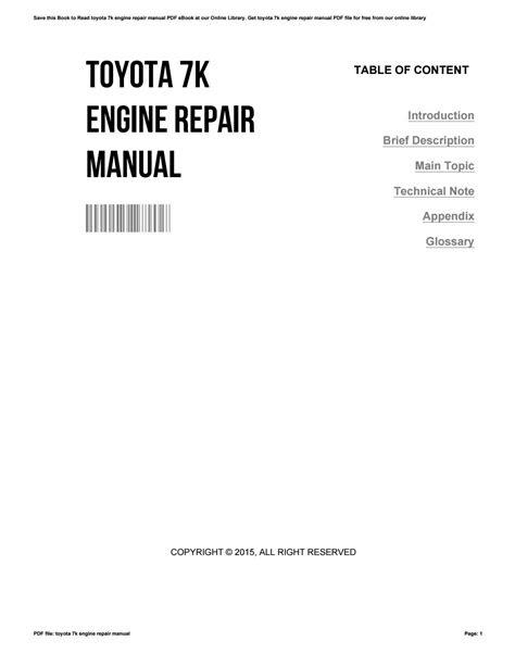 Toyota 7k engine repair manual by CatherineHiggs1778 - Issuu