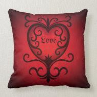Elegant red damask love heart throwpillow