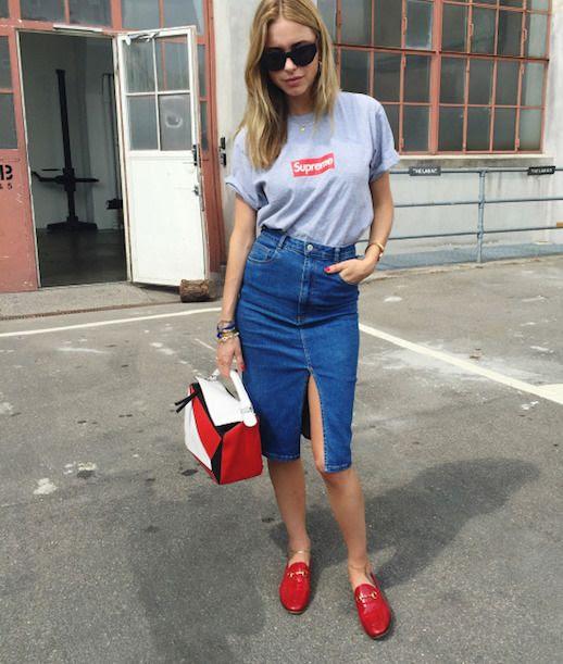 Le Fashion Blog Pernille Teisbaek Denim Midi Skirt T Shirt Red Flats Via Fashion Gone Rogue