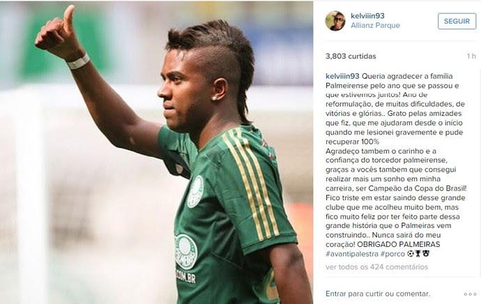Kelvin se despede do Palmeiras em rede social (Foto: Reprodução/Instagram)