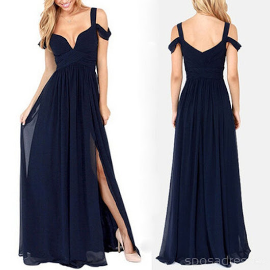 Most Popular Charming Side Split Chiffon Navy Blue Formal Zipper Back  – SposaDesses