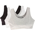 Fruit Of The Loom Tank Style Sports Bra - 3 Pack, White/Black/Grey (9012)