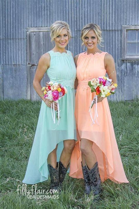 Cheap 2016 Coral Hi Lo Short Bridesmaid Dresses Cheap