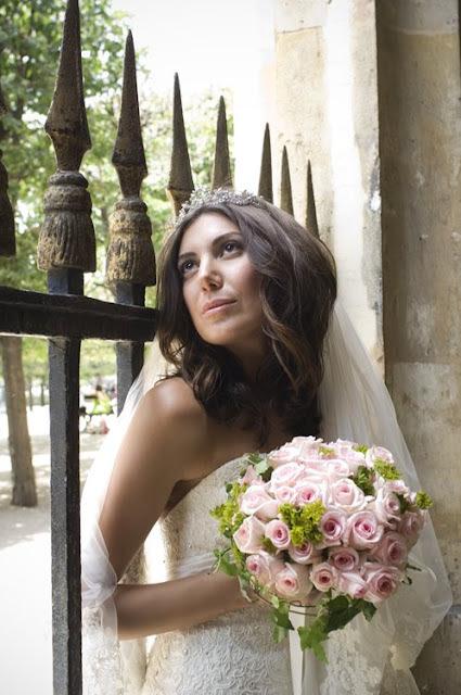 stylish wedding portrait of a bride in a Paris garden; Palais Royal
