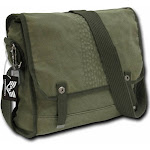 """RapDom Tire Tread Embroidery Vintage Military Canvas Messenger Bag [Olive Green - 15""""L x 11""""H x 4.5""""W]"""