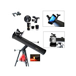 Cassini Astronomical Reflector Telescope and #G-SPA Smartphone Adapter and red LED observation light Black 800x80mm C-SS80