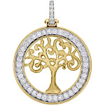 "14K Yellow Gold Round Diamond Textured Tree Of Life Pendant 1.35"" Charm 0.72 CT."