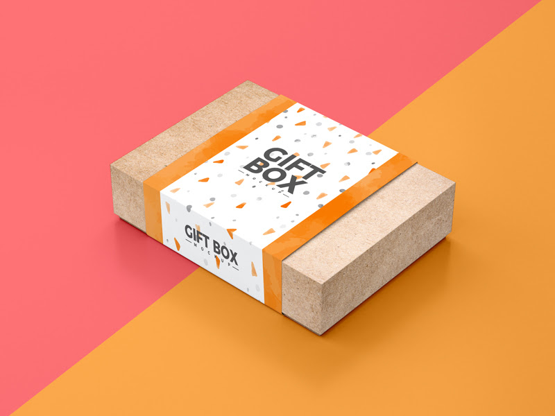 Free Craft Paper Gift Box Packaging Mockup Psd Dribbble Graphics