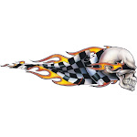 Pilot Lt-00420 Checkered Skull Right Graphic Lethal Threat Decal