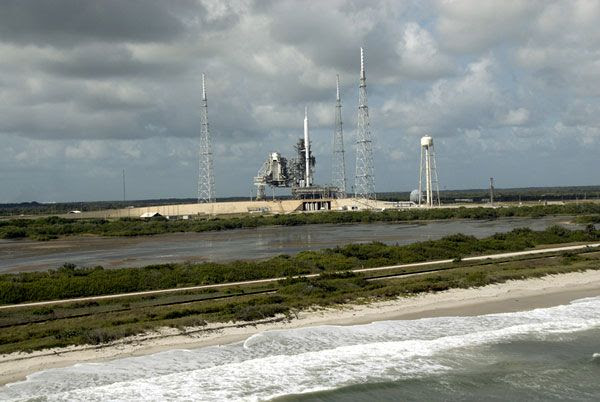 The ARES I-X rocket at Launch Complex 39B at NASA's Kennedy Space Center in Florida, on October 23, 2009.