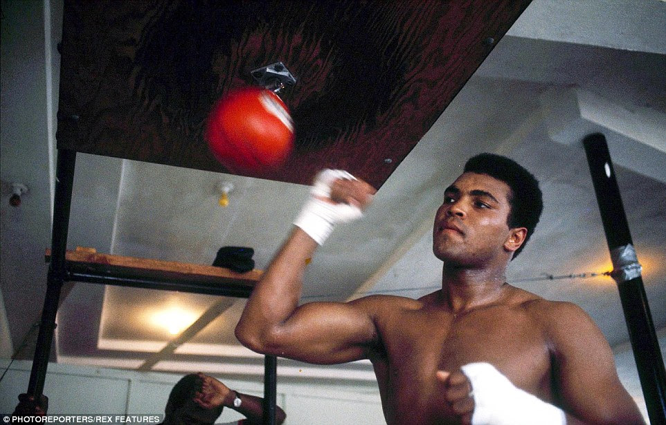 Ali is pictured training in 1970 as the former heavyweight champion of the world prepares to make a return to boxing after his exile