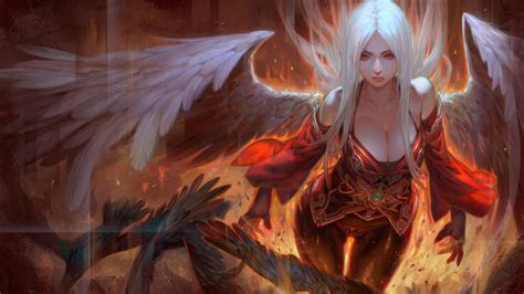 girl angel white hair angel wings  red eyes fire art