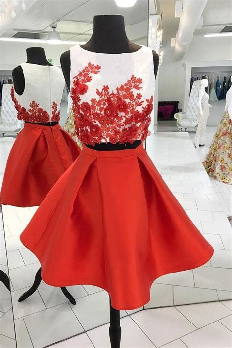 Red Two Piece Homecoming Dresses,Cute Appliqued Satin